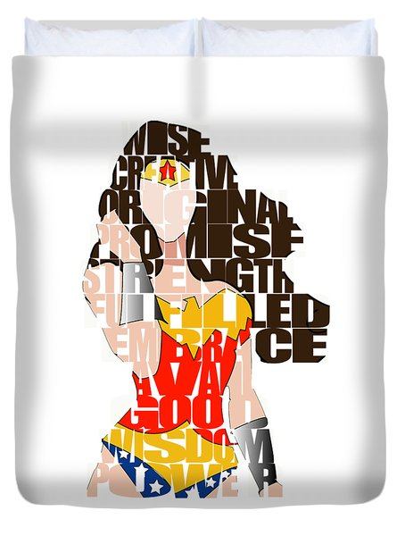 Wonder Woman Inspirational Power And Strength Through Words Duvet Cover by Marvin Blaine