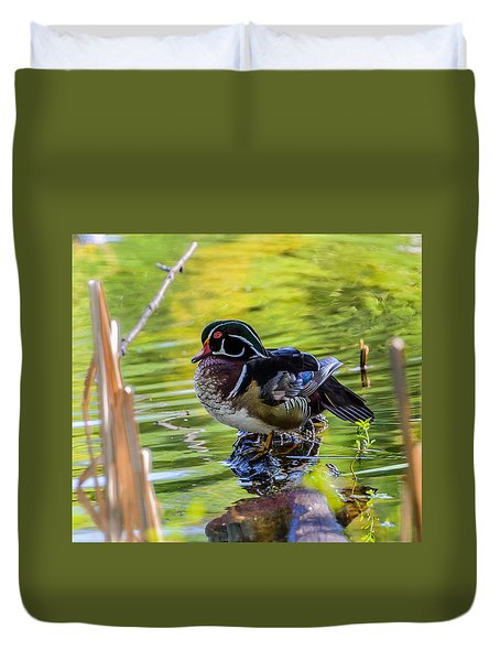 Duvet Cover featuring the photograph Wood Duck by Jerry Cahill