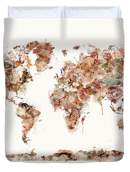 Duvet Cover featuring the painting World Map Watercolor by Bri B