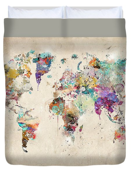 World Map Watercolor Duvet Cover by Bri B