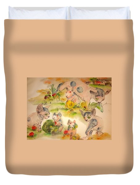 Duvet Cover featuring the painting World Of Guinea Pigs And Naked Cats Album by Debbi Saccomanno Chan