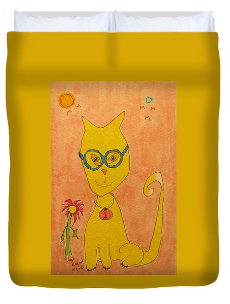 Yellow Cat With Glasses Duvet Cover