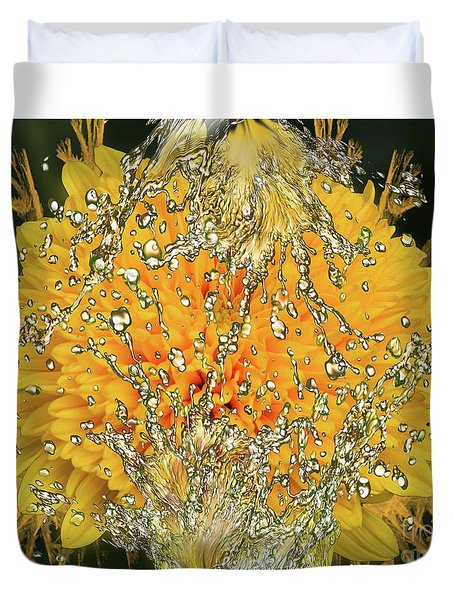 Yellow Dahlia Duvet Cover by Elvira Ladocki