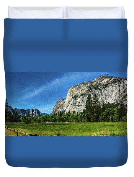 Yosemite Valley Meadow Panorama Duvet Cover
