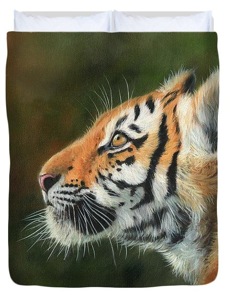 Duvet Cover featuring the painting Young Amur Tiger  by David Stribbling