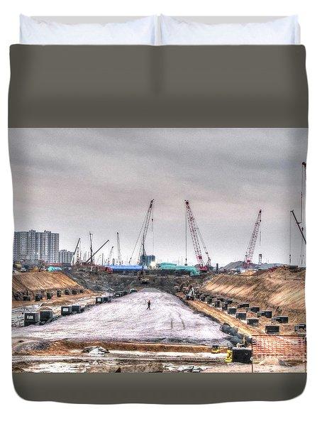 Yury Bashkin Construction Duvet Cover by Yury Bashkin