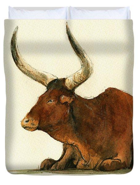 Zebu Cattle Art Painting Duvet Cover