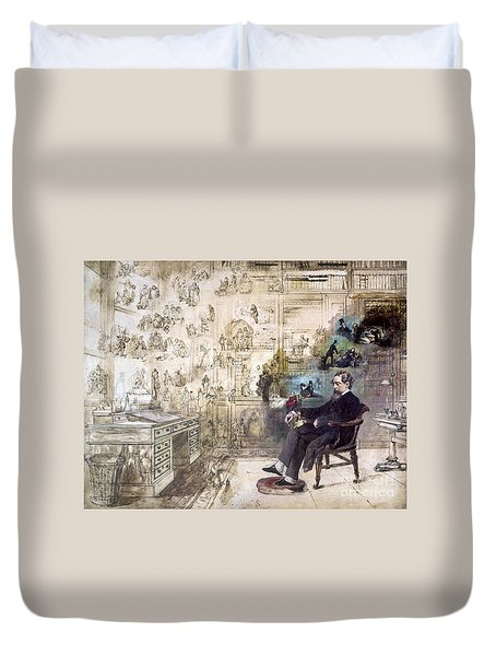 Charles Dickens 1812-1870.  To License For Professional Use Visit Granger.com Duvet Cover