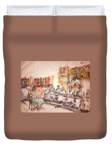 Duvet Cover featuring the painting Of Clogs And Windmills Album by Debbi Saccomanno Chan