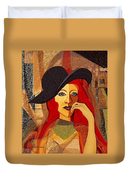200 - Woman With Black Hat .... Duvet Cover