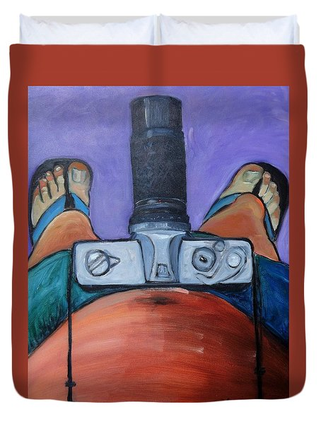 Duvet Cover featuring the painting 200 Zoom by Gary Coleman