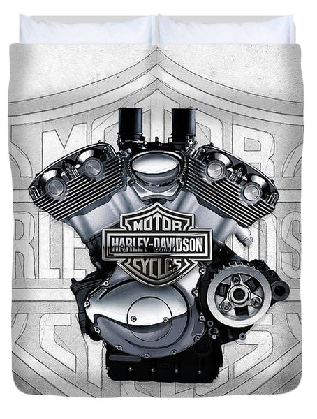 Duvet Cover featuring the digital art 2002 Harley-davidson Revolution Engine With 3d Badge  by Serge Averbukh