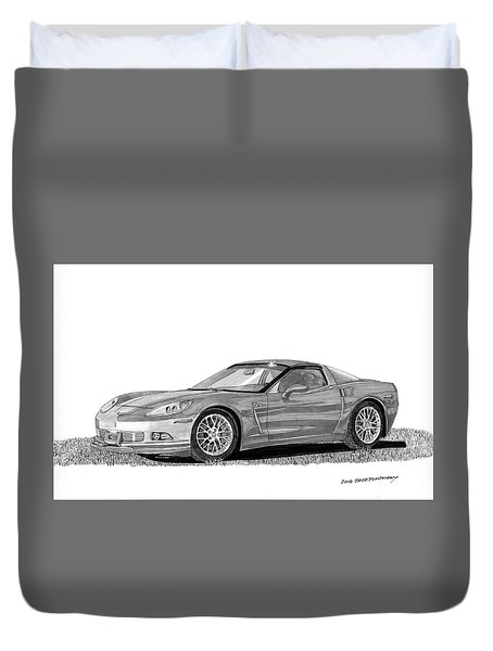 Corvette Roadster, Silver Ghost Duvet Cover by Jack Pumphrey
