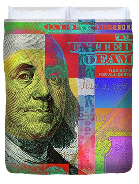 2009 Series Pop Art Colorized U. S. One Hundred Dollar Bill No. 1 Duvet Cover