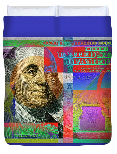 2009 Series Pop Art Colorized U. S. One Hundred Dollar Bill No. 1 Duvet Cover