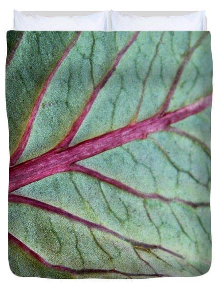 2010 Hydrangea Leaf Close Up 5 Duvet Cover by Robert Morin