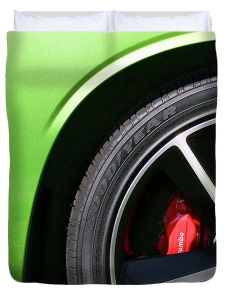 2011 Dodge Challenger Srt8 392 Hemi Green With Envy Duvet Cover by Gordon Dean II