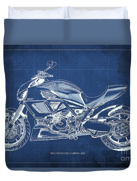 2012 Ducati Diavel Carbon Motorcycle Blueprint - Blue Background Duvet Cover