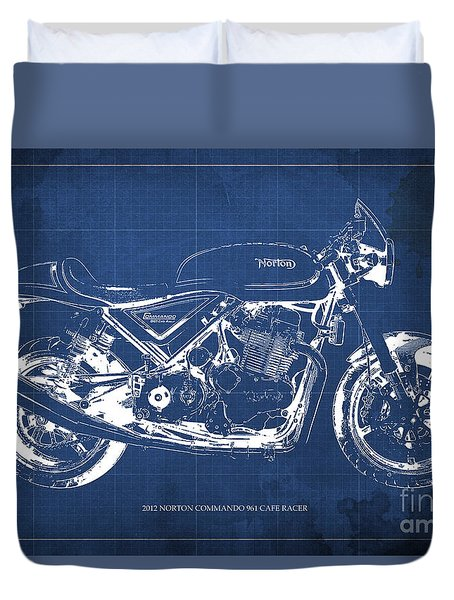 2012 Norton Commando 961 Cafe Racer Motorcycle Blueprint - Blue Background Duvet Cover