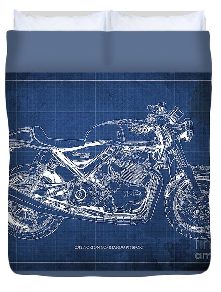 2012 Norton Commando 961 Sport Blueprint Classic Motorcycle Blue Background Duvet Cover