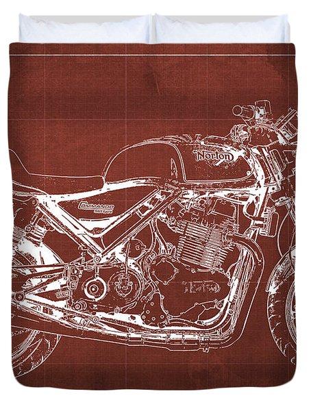 2012 Norton Commando 961 Sport Blueprint Classic Motorcycle Red Background Duvet Cover
