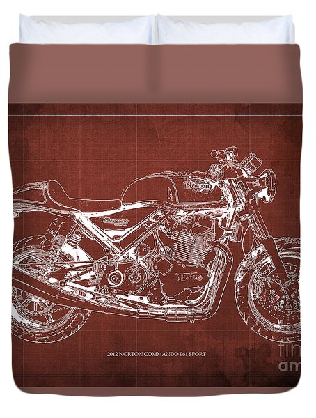 2012 Norton Commando 961 Sport Blueprint Classic Motorcycle Red Background Duvet Cover