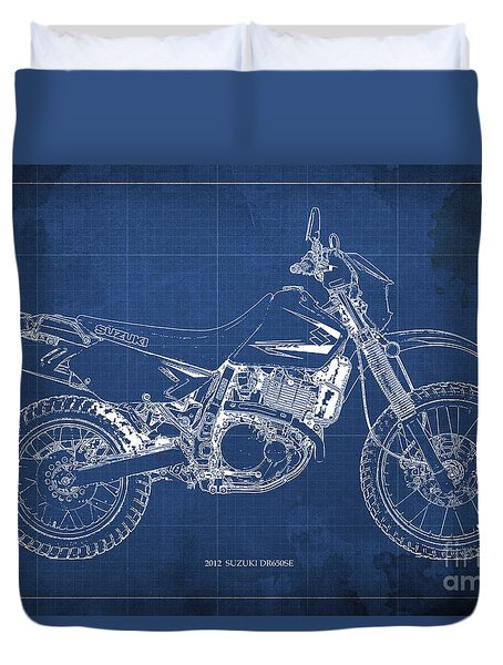 2012 Suzuki Dr650se Motorcycle Blueprint, Blue Background, Awesome Gift For Men Duvet Cover