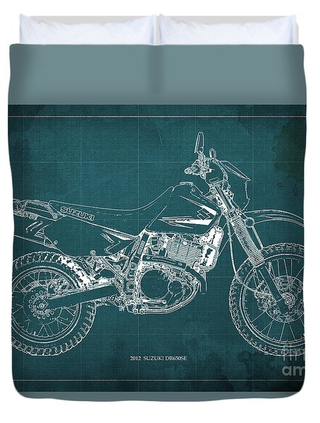 2012 Suzuki Dr650se Motorcycle Blueprint Green Background Awesome Gift For Men Duvet Cover