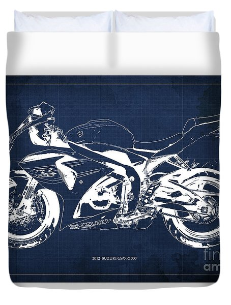 2012 Suzuki Gsx-r1000 Blueprint Motorcycle Art Print Blue Background Duvet Cover