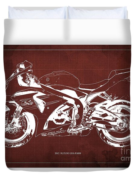 2012 Suzuki Gsx-r1000 Blueprint Motorcycle Art Print Red Background Duvet Cover