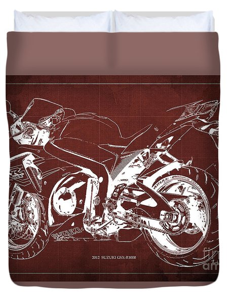 2012 Suzuki Gsx-r1000 Blueprint. Red Background. Gift For Bikers Duvet Cover