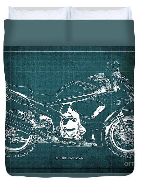 2012 Suzuki Gsx1250fa Motorcycle Blueprint Green Background Awesome Gift For Men Duvet Cover