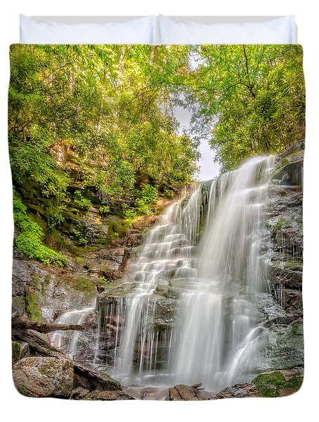 Duvet Cover featuring the photograph Rocky Falls by Christopher Holmes