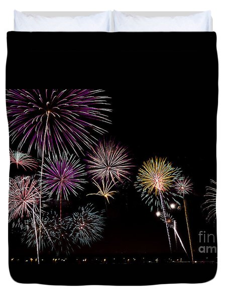 Duvet Cover featuring the photograph 2013 Fireworks Over Alton by Andrea Silies