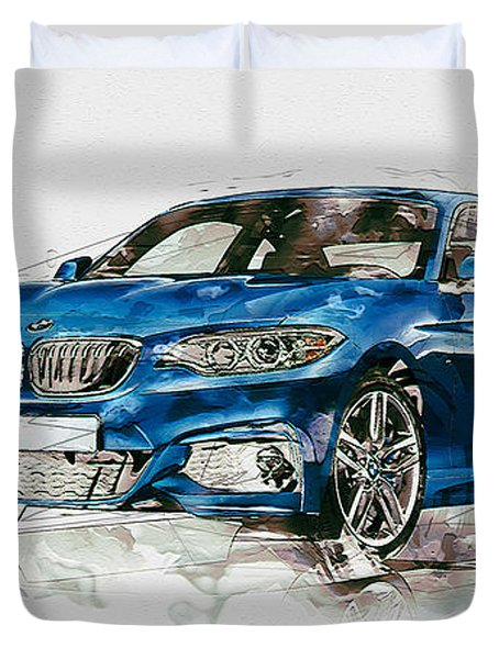 2014 B M W 2 Series Coupe With 3d Badge Duvet Cover by Serge Averbukh
