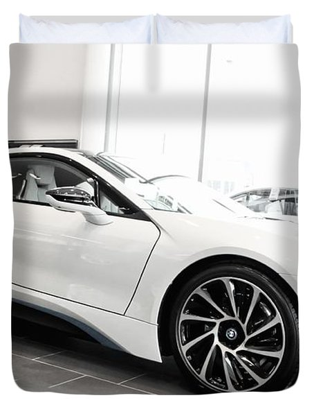 Duvet Cover featuring the photograph 2014 Bmw E Drive I8 by Aaron Berg