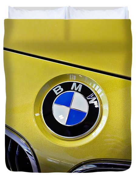 Duvet Cover featuring the photograph 2015 Bmw M4 Hood by Aaron Berg