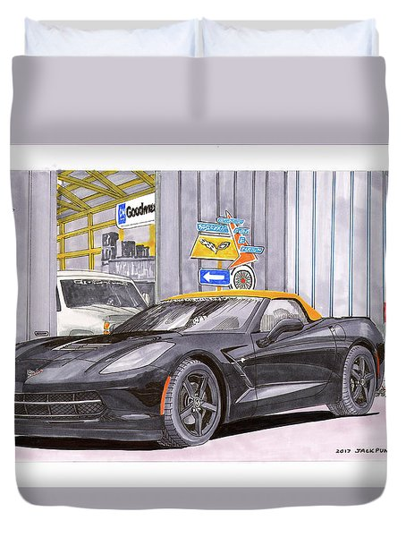 Duvet Cover featuring the painting 2014 Corvette And Man Cave Garage by Jack Pumphrey