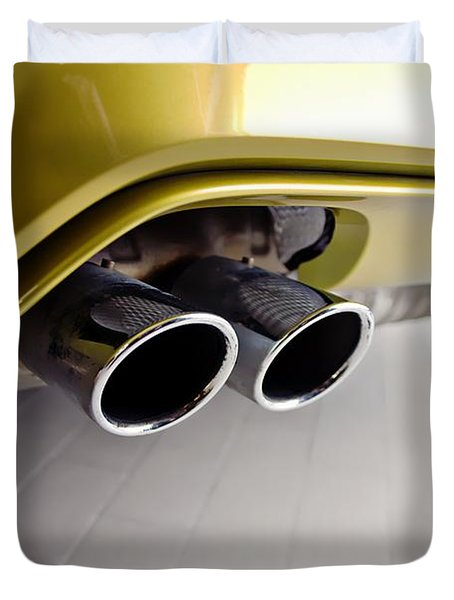 Duvet Cover featuring the photograph 2015 Bmw M4 Exhaust by Aaron Berg