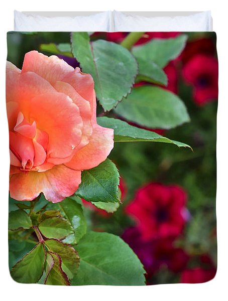 2015 Fall Equinox At The Garden Sunset Rose And Petunias Duvet Cover