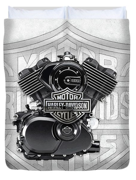 Duvet Cover featuring the digital art 2015 Harley-davidson Street-xg750 Engine With 3d Badge  by Serge Averbukh