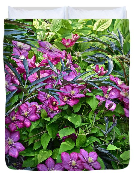 2015 Summer At The Garden Beautiful Clematis Duvet Cover