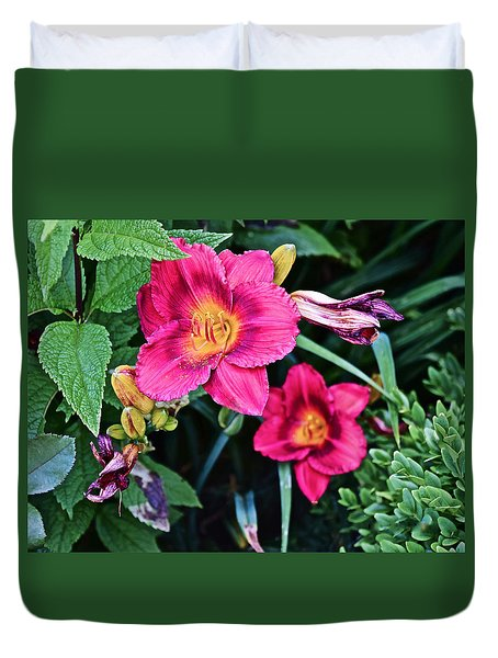 2015 Summer At The Garden Strawberry Candy Daylily 2 Duvet Cover
