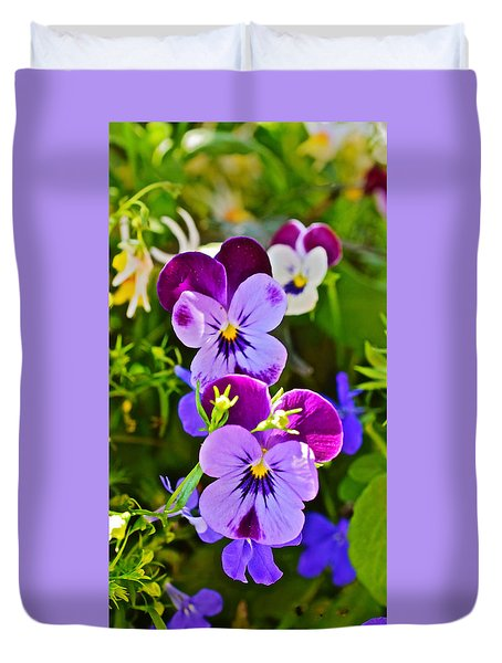 2015 Summer's Eve At The Garden Pansy Totem Duvet Cover
