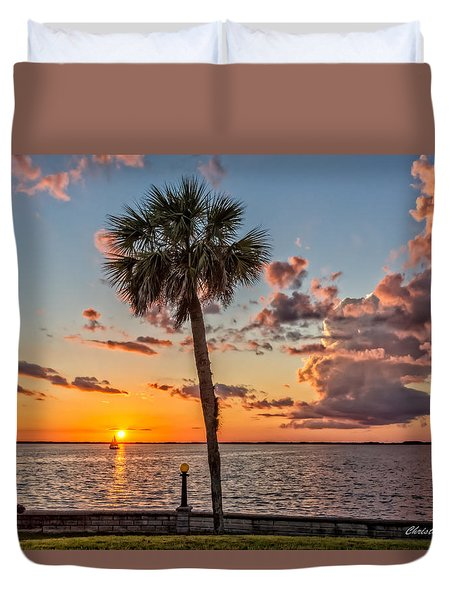 Duvet Cover featuring the photograph Sunset Over Lake Eustis by Christopher Holmes