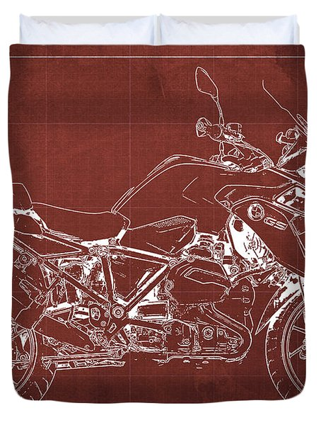 2016 Bmw R1200gs Blueprint Red Background Duvet Cover
