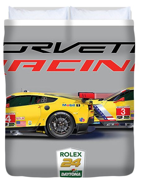2016 Daytona 24 Hour Corvette Poster Duvet Cover