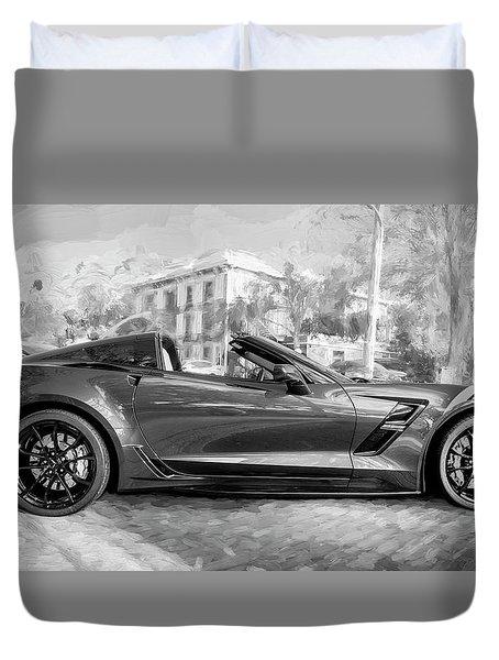 2017 Chevrolet Corvette Gran Sport Bw Duvet Cover by Rich Franco