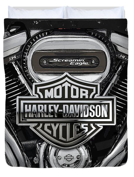 Duvet Cover featuring the digital art 2017 Harley-davidson Screamin' Eagle Milwaukee-eight 114 Engine With 3d Badge by Serge Averbukh