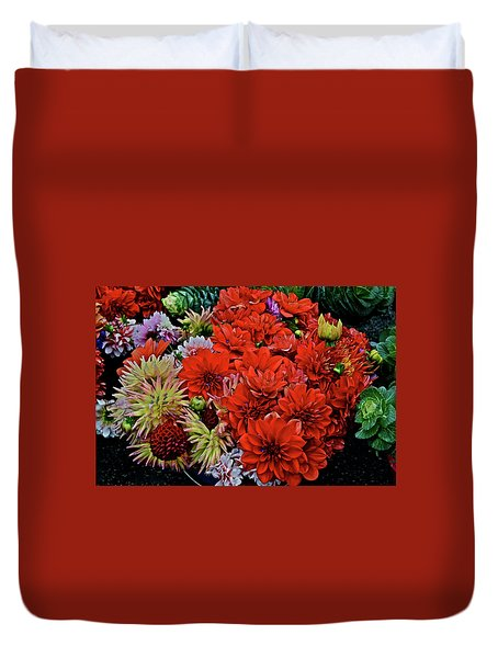 2017 Mid October Monona Farmers' Market Buckets Of Blossoms 1 Duvet Cover